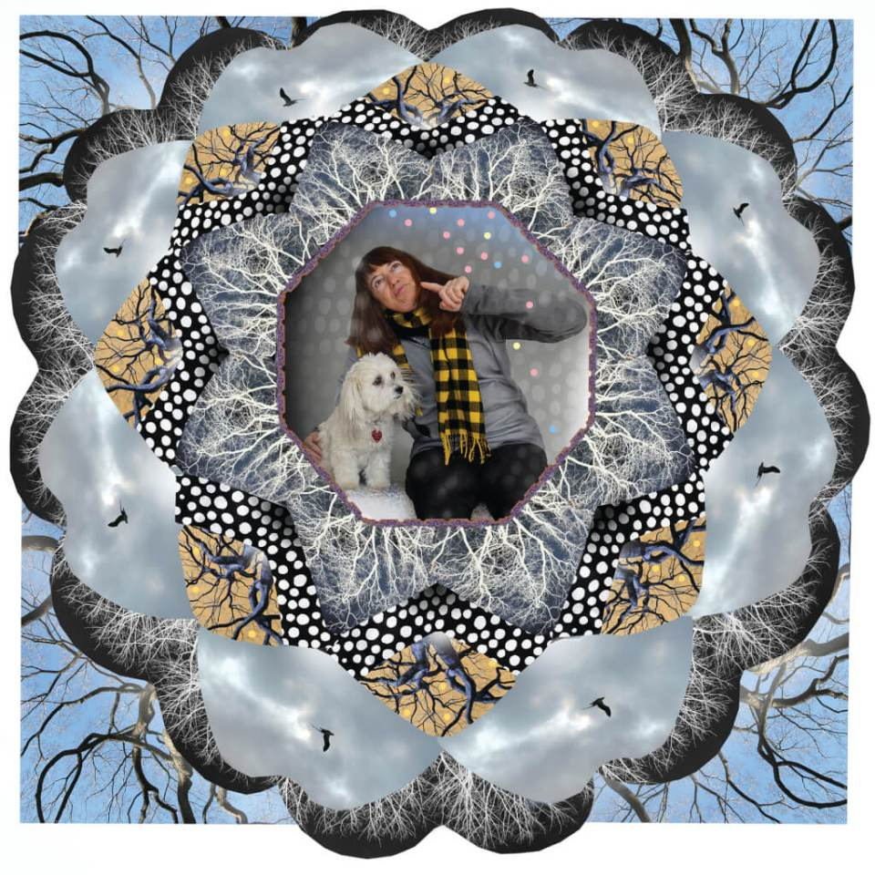 Robin Botie of Ithaca, New York, photoshops images of birds and bare trees in winter as she talks to herself and her dog.