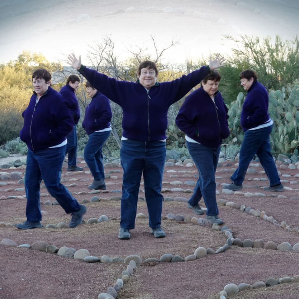 Robin Botie of Ithaca, New York, photoshops multiple images of her sister walking a labyrinth in Tucson, Arizona.