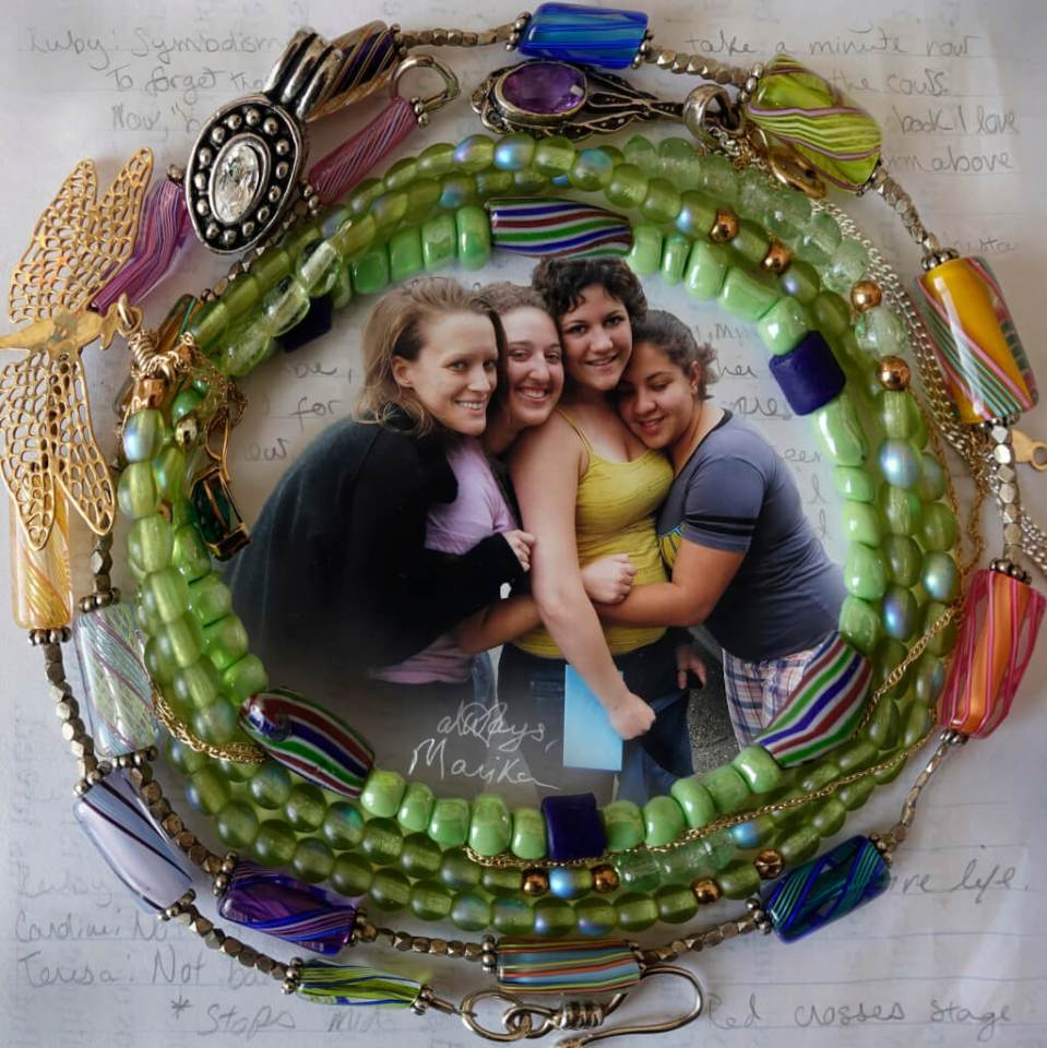 Robin Botie of Ithaca, New York, photoshops friendship bracelets around a photo of her daughter who died of leukemia being hugged by friends.