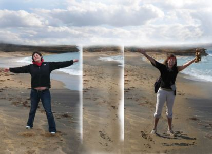 Robin Botie of Ithaca, New York, photoshops images of herself and her daughter who died, Marika Warden, on Bells Beach off the Great Ocean Road in southeast Australia.