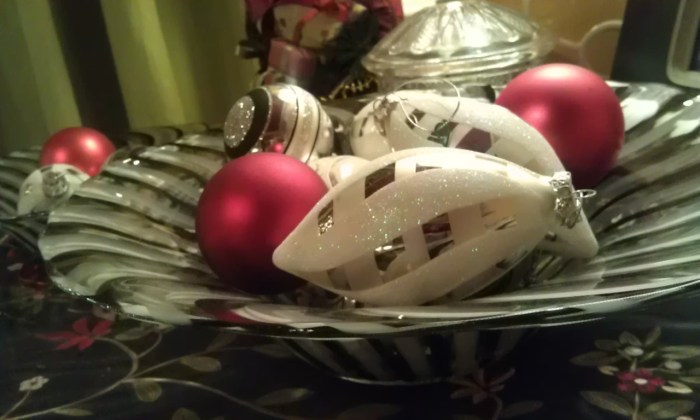 Christmas ornaments in a bowl