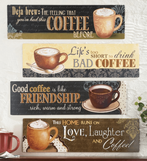 Four fun coffee signs