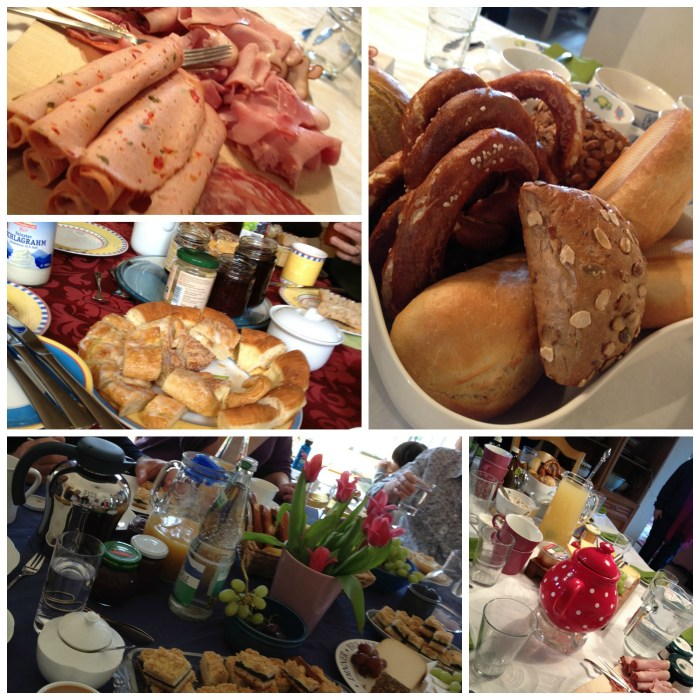 Table Scenes from a German Breakfast Stammtisch - meats, breads, pretzels and more