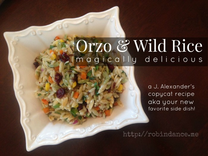 Orzo and Wild Rice - J Alexanders Copycat Recipe