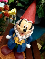 Even Mickey was on hand merchandising himself out as a garden gnome in the shops.