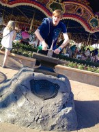 Jacob testing his strength by trying to pull out the Sword in the Stone. I guess he's not the rightful King of England, after all.