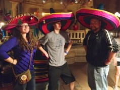 The Three Amigos had a good time inside the temple. More fun happened, however, on the Gran Fiesta Tour starring the Three Caballeros, a tranquil boat ride highlighting Mexico.