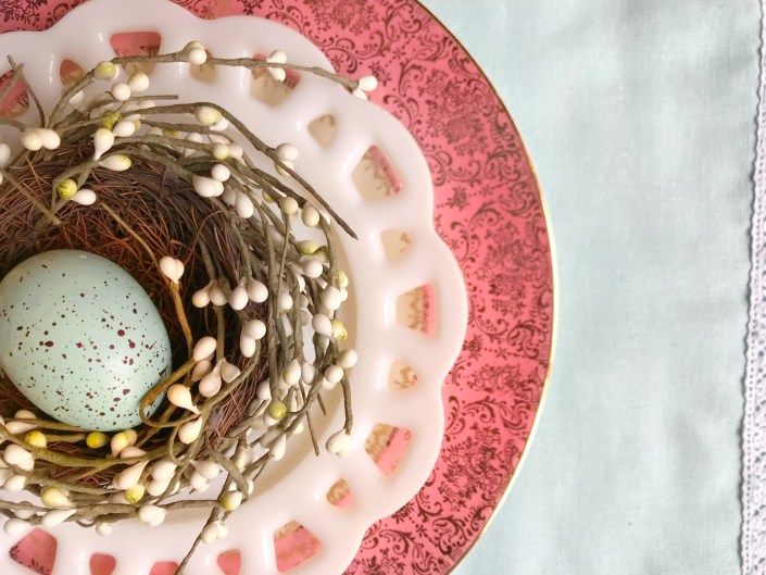 Nest egg and pink plate