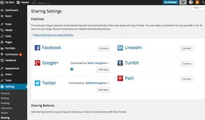 Blog share settings