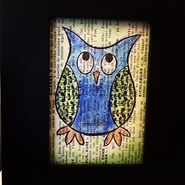 Painted owl on vintage French dictionary print