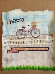 mixed media art - pink bicycles and text