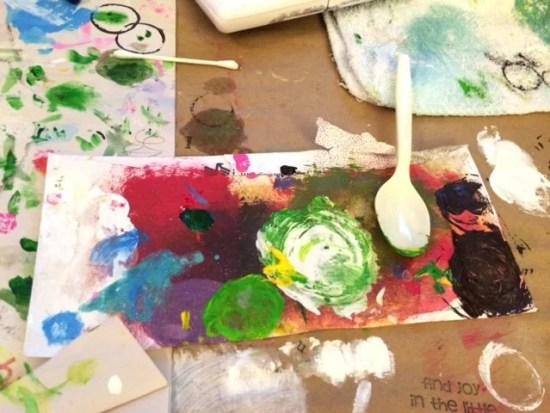 Paint palette on art studio table