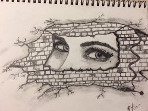 graphite and charcoal drawing - woman's eyes
