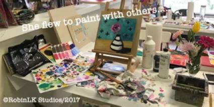 Painting in progress in art studio
