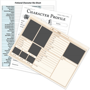 Collection of character development sheets