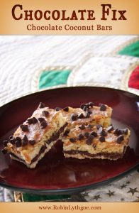 """Who wants some easy-peasy Chocolate Coconut Bars? I am super big on """"easy,"""" and this little number is on the list. Not quite one bowl, but painless enough—and tasty enough—to add to my family's """"triple diple do-over"""" list. I've always been a fan of Mounds Bars, and this recipe has a little of that going on, but not nearly so sweet."""