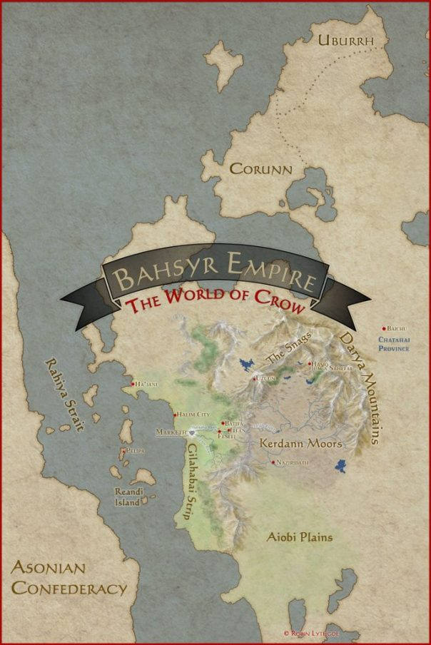 "This map depicts the world of Crow in the book, ""As the Crow Flies"" (by Robin Lythgoe)—but only as far as he knows or has described it. As upcoming adventures are added, the map will grow and become more detailed."