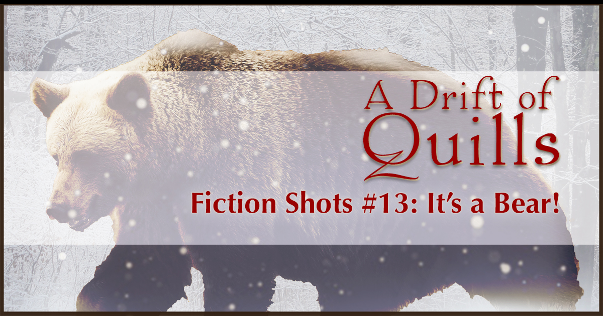 A Drift of Quills: Fiction Shots #13— It's flash fiction! Three different stories inspired by one picture. This round: A magical woman holding hands with a …bear! [www.robinlythgoe.com/blog]