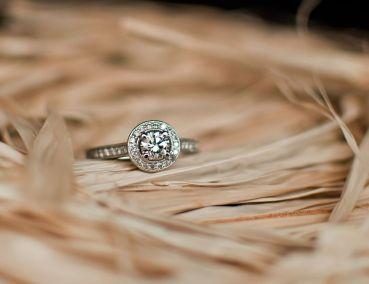 Vintage halo diamond engagement ring