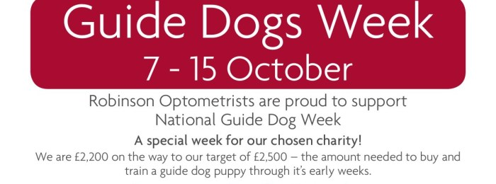 Guide Dogs Week at Robinson Optometrists, 7 – 15 October