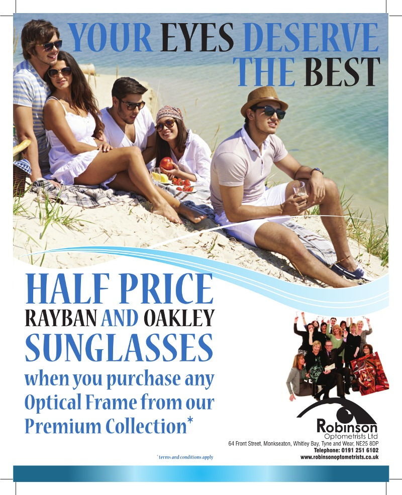 Half price Ray-Ban and Oakley Sunglasses offer at Robinson Optometrists, Monkseaton