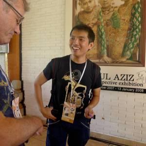 Indonesian Author, Augustinus Wibowo with Tony Wheeler at Ubud Writers and Readers Festival in Ubud, Bali, Oct 2013
