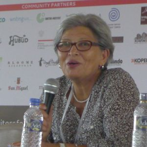"Haideh Moghissi speaking on ""Inspiring Women"" panel  at Ubud Writers and Readers Festival in Ubud, Bali, Oct 2013"