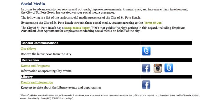 GOV website social media page