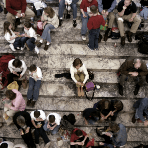 woman feeling lonely even in a crowd