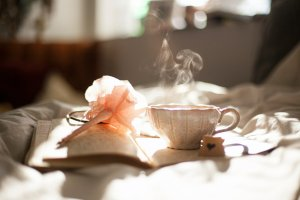 morning tea with notebook
