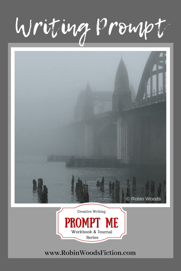 Florence, OR bridge on a foggy day. Photo Writing Prompts by Robin Woods.