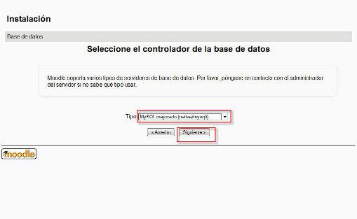 Selección controlador base de datos
