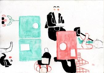 Café (ink, watercolour crayon and pencil - 21 x 29 cm)