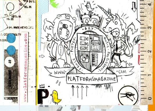 Promotional postcard for Platforms Magazine