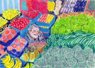 Fruit and veg man (from memory). Watercolour crayon on paper. 20 x 30 cm