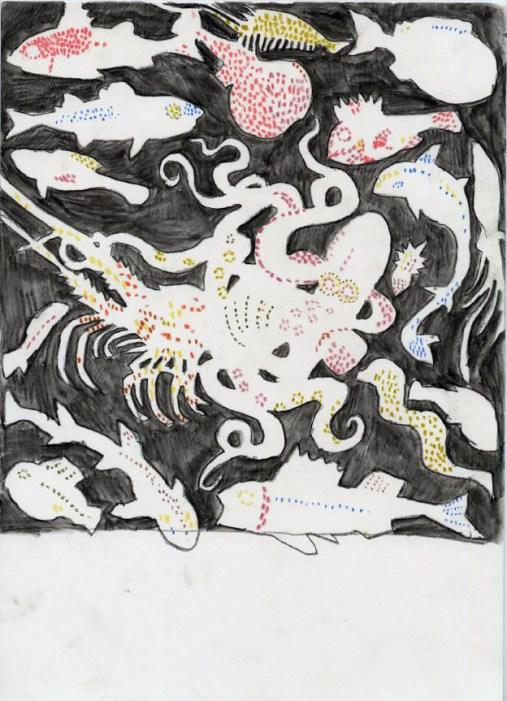 Mosaic. Watercolour crayon on paper. 30 x 20 cm