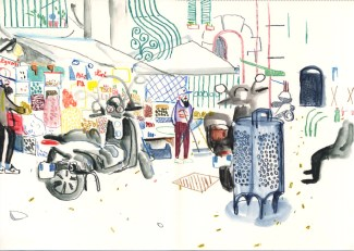 Nut sellers. Watercolour crayon on paper. 30 x 42 cm