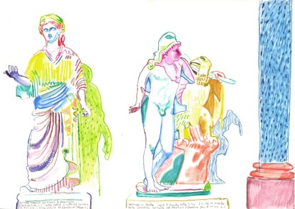 Statues. Watercolour crayon on paper. 30 x 42 cm