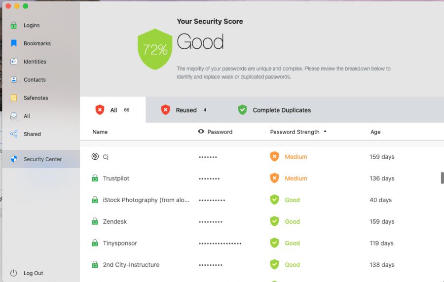 RoboForm Security Center Calculates a Security Store for All Passwords Saved in RoboForm