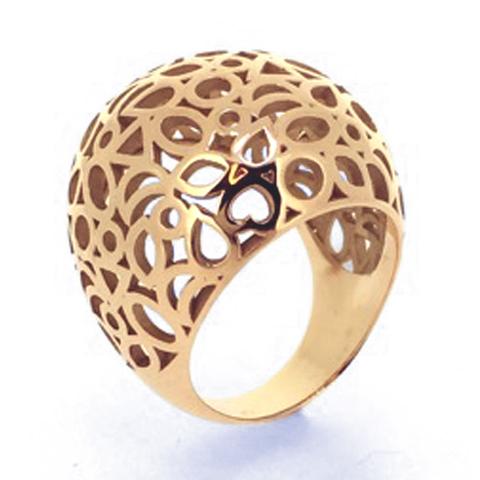 Een gouden '1001-nachtje-ring', bolvormig en bestaande uit een compositie van verschillende slijpvormen.