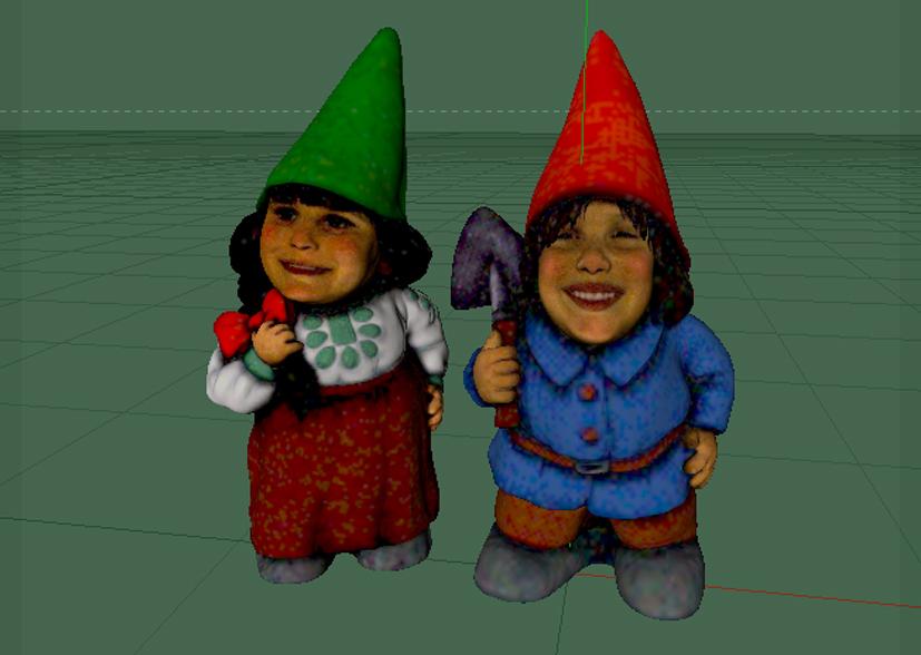 Schermafbeelding: 3D-gescande kindergezichten zijn met 3D-gecande tuinkabouters samengevoegd tot gepersonaliseerde tuinkabouters.