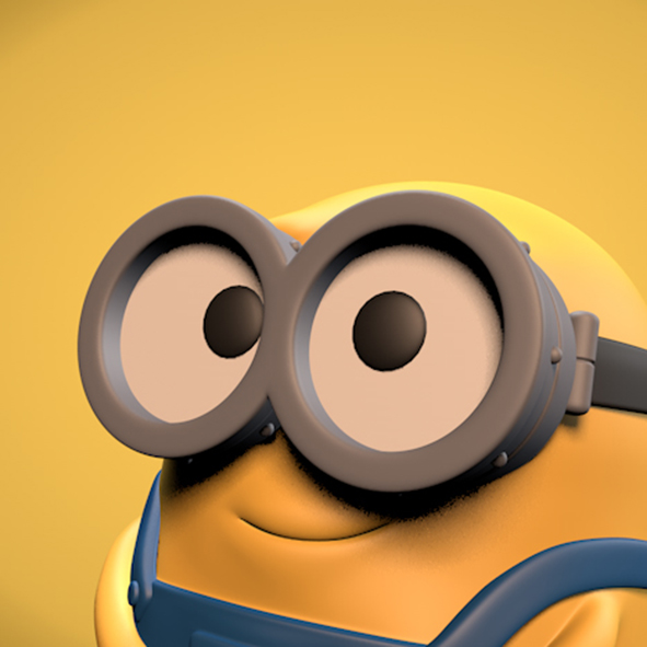 Digitale afbeelding van een 3D-model voor minion 'Bob', close up.