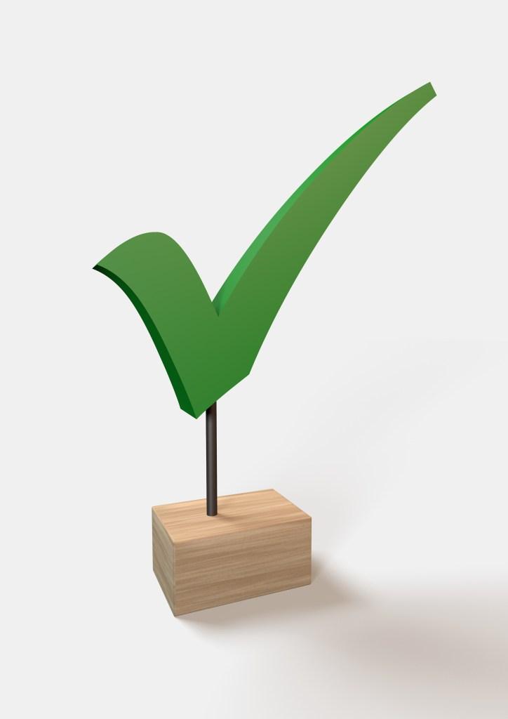 Digitale afbeelding van een 3D-model voor de Plexs Award: Het groene vinkje uit het logo van Plexs met een stokje op een houten blokje geplaatst.