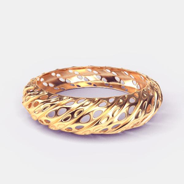 3D-model van een armband met een spiraalvormig patroon van lijnen en openingen.