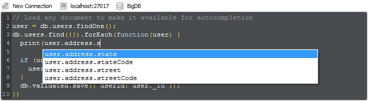 Robo 3T provê autocompletar em VM Javascript