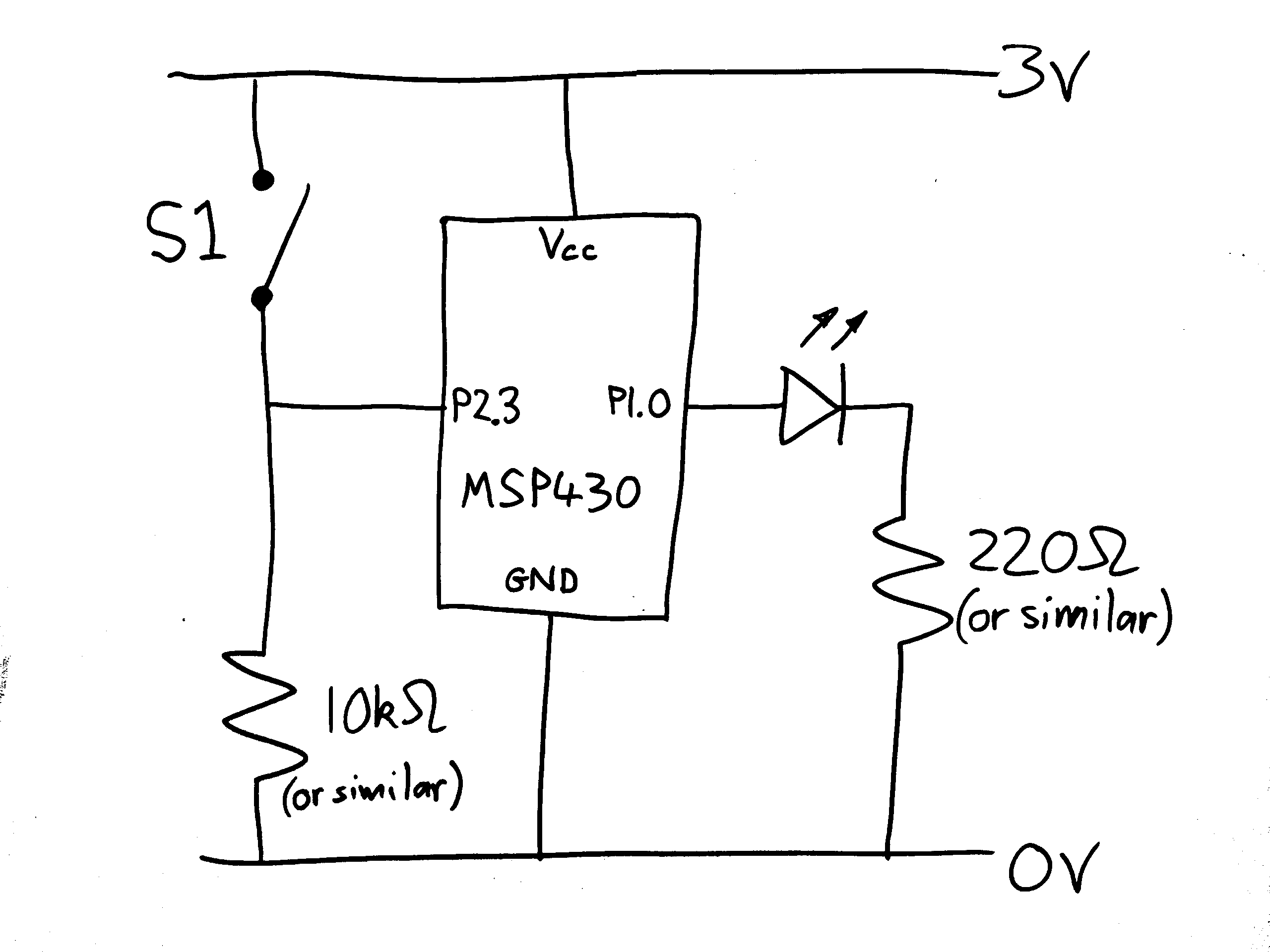 Fast Slow Blinking Led Example For Msp430 And Switch