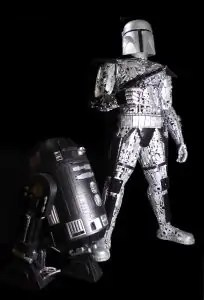 Giant Boba Fett style robot with Rogue one Droid C2-B5