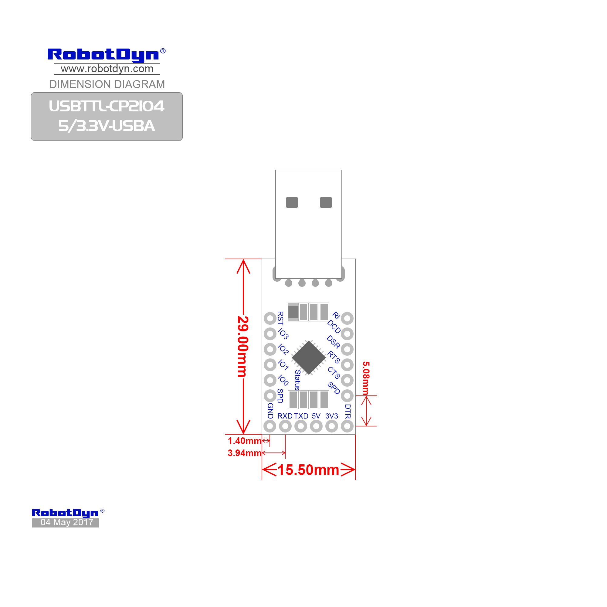 Usb Serial Adapter Microcontroller Cp 5v 3 3v