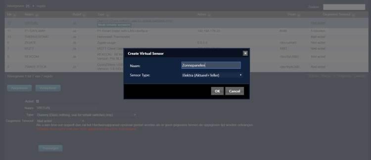 Create virtual sensor schermafdruk