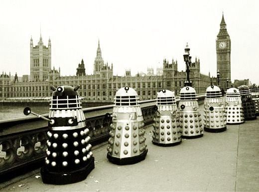 Evil Daleks from Doctor Who seen outside the UK Houses of Parliament